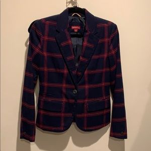 Target Merona Navy and Maroon Plaid Blazer